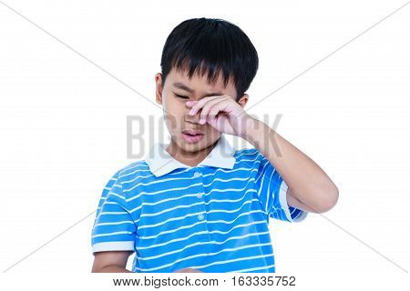 Closeup Of Asian Child Sadden And Crying, Isolated On White Background.