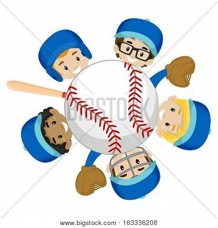 Vector Illustration of Baseball Team Boys around the Ball