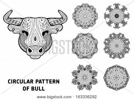 Line art. Element for your design. The head of a bull and patterns of rotational circular drawn from the head of the bull. Monochrome patterns with ink. Coloring page for adults.