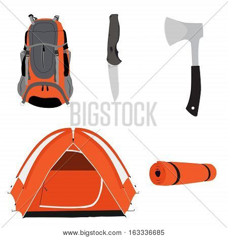 Camping equipment orange camping tent travel backpack knife and axe with black handle vector illustration. Camping gear icon set