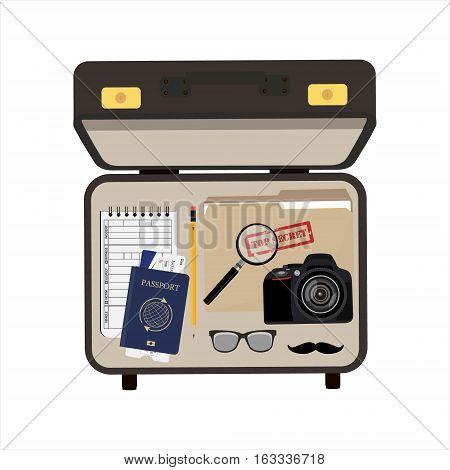 Vector illustration top view detective briefcase with camera passport and ticket glasses and mustache file folder with top secret and notepad