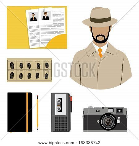 Vector illustration detective interrogation concept notepad with pencil and dictaphone. Detective equipment icon set collection