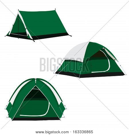 Vector set of three green camping tents vector illustration. Camping equipment camping gear camping icon