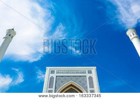 The Top Of The Minaret Of The Mosque Minor In Tashkent, Uzbekistan.