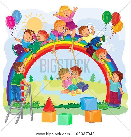 Vector illustration of a carefree young children playing on the rainbow