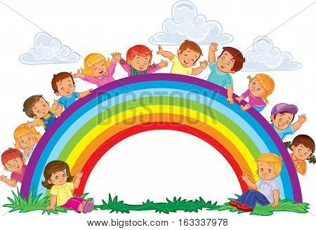 Vector illustration of a carefree young children look out from behind the rainbow