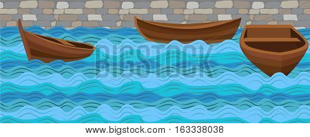 Boat boats wooden simple three ship on water sea river ocean wave waves calm tide roller wash brick stone wall background. Vector closeup side front beautiful horizontal sign signboard illustration