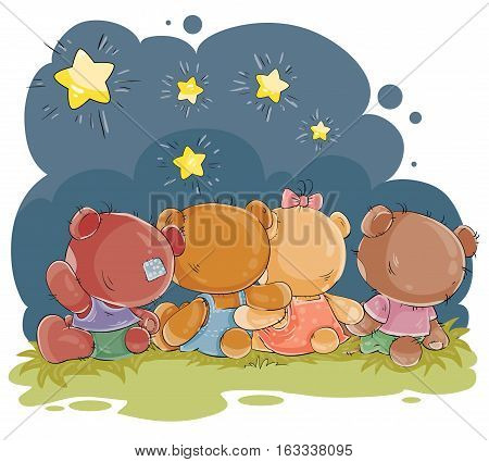 Set of vector clip art illustrations of teddy bears - friends sitting embracing and admiring the night sky