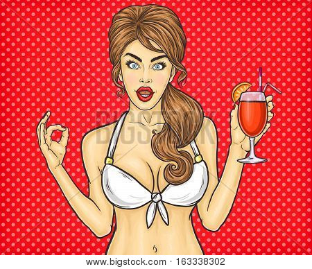 Vector illustration of a sexy pop art girl shows sign OK
