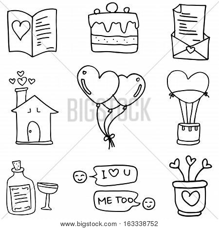 Doodle of love romance vector collection stock
