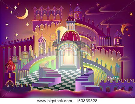 Illustration of a fairyland fantasy kingdom, vector cartoon image.