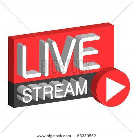 Live stream 3D button sign live webcast, the vector air stream online