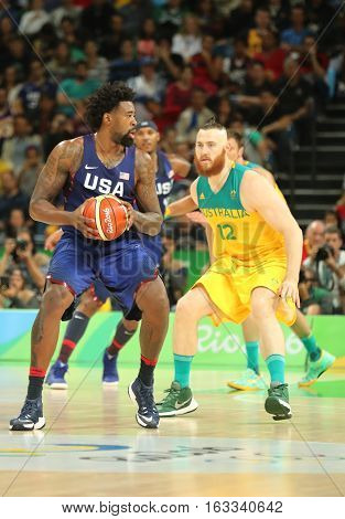 RIO DE JANEIRO, BRAZIL - AUGUST 10, 2016: Jordan DeAndre of team United States in action during group A basketball match between Team USA and Australia of the Rio 2016 Olympic Games at Carioca Arena 1