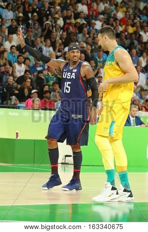 RIO DE JANEIRO, BRAZIL - AUGUST 10, 2016: Olympic champion Carmelo Anthony of Team USA in action during group A basketball match between Team USA and Australia of the Rio 2016 Olympic Games
