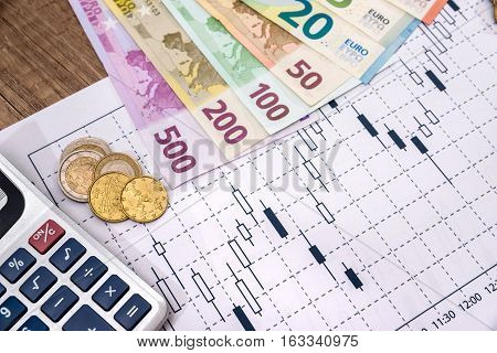 Financial market chart with a euro bills.