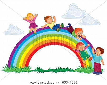 Vector illustration of a carefree young children slide down the rainbow