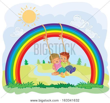 Vector illustration of a carefree young children swinging on the rainbow