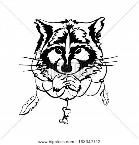 illustration of black raccoon snout with dreamcatcher