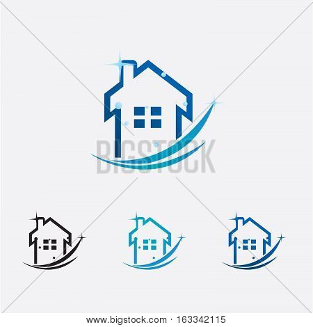 House cleaning logo with swoosh and sparks