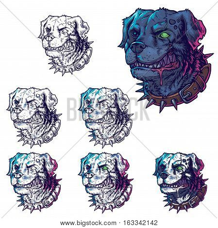 Vector set of illustrations of evil mad dogs grinning teeth