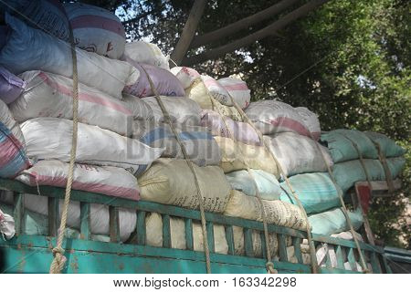 A truck loaded with sacks of goods in Cairo, Egypt, October 2014
