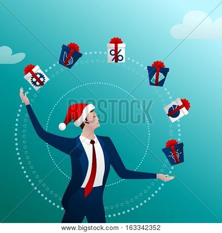 The businessman in a New Year cap with a happy smile juggles gift with boxes and gifts on a blue background. Concept idea. Vector illustration.