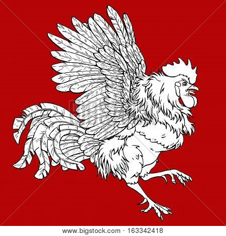 Pugnacius rooster coloring on red background. Decorative chicken monochrome. Coloring page book. A symbol of the Chinese new year 2017 according to east calendar.