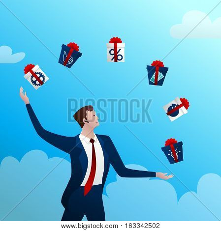 The successful businessman with a happy smile juggles boxes with gifts on a blue background and clouds. Concept idea. Vector illustration.