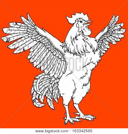 Vigorous rooster coloring on orange background. Decorative chicken monochrome. Coloring page book. A symbol of the Chinese new year 2017 according to east calendar.