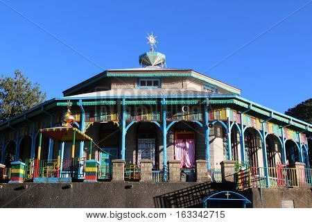 Entoto Maryam Church, an orthodox temple on the Entoto mountain in Addis Ababa, February 2015
