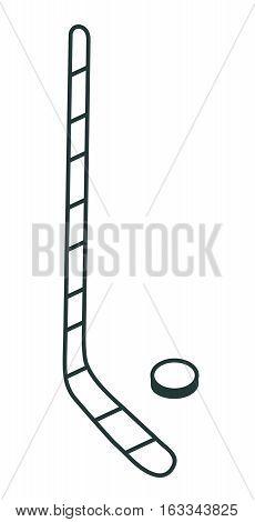Line Icon Hockey Stick. Sports Equipment.