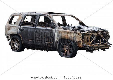 burnt broken carburnt broken machine isolated on white background