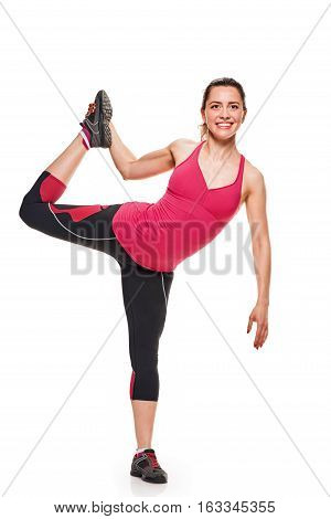 Fitness woman stretching full body. female fitness model standing stretching thigh in full body isolated on white background.
