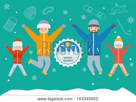 Winter Holidays Banner. Flat Style Illustration
