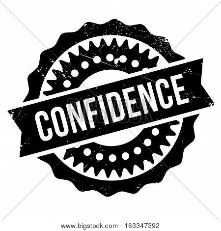 Confidence stamp. Grunge design with dust scratches. Effects can be easily removed for a clean, crisp look. Color is easily changed.