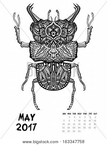 May, 2017 calendar. Line Art Black and white Illustration. Big Bug. Print anti-stress coloring page.
