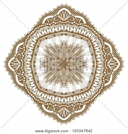 Circular floral ornament Mehndi Henna Tattoo Mandala, Yantra brown. Vintage vector banner frame card for text invitations for wedding birthday celebration, white background indian, ethnic, boho