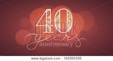 40 years anniversary vector banner, icon, logo. Graphic design element with bokeh effect for 40th birthday card or illustration