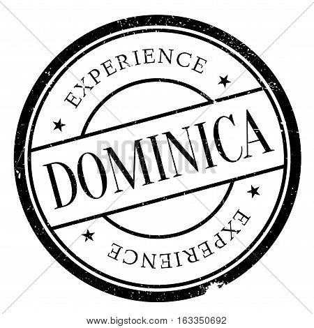 Dominica stamp. Grunge design with dust scratches. Effects can be easily removed for a clean, crisp look. Color is easily changed.