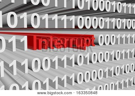 Interrupt in the form of binary code, 3D illustration