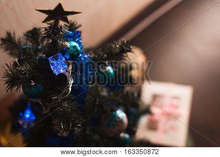 Christmas Ball On Fir Tree Branches,