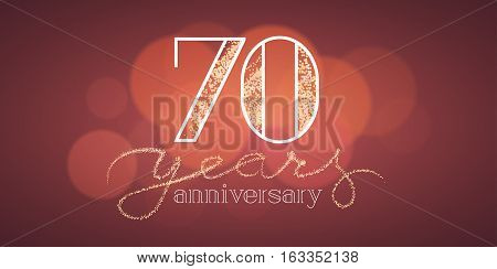 70 years anniversary vector illustration, banner, flyer, icon, symbol, sign, logo. Graphic design element with bokeh effect for 70th birthday card