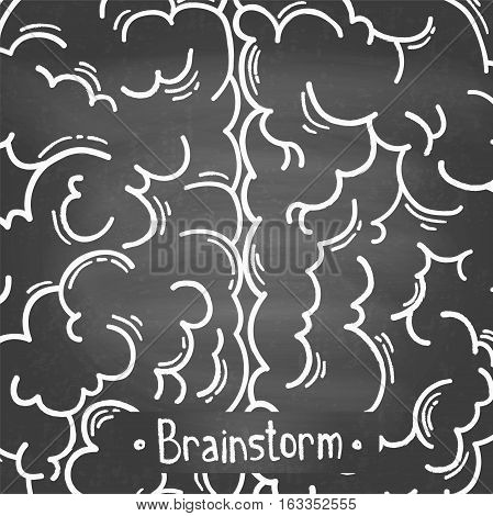 Creative concept of the brainstorm. Left and right side of the human brain. Hemispheres of the brain on the chalkboard. Monochrome vector illustration.