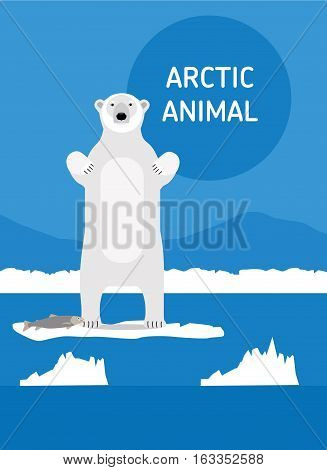 Polar bear with fish stood up on its hind legs. Vector drawing of a series of Arctic animals. Flat style illustration