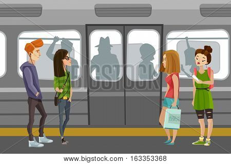 Subway people background with underground train and commuters flat vector illustration