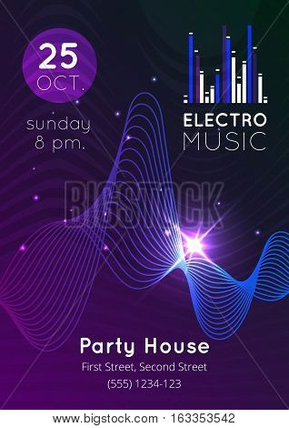 Glowing electro music audio equalizer party house poster flat vector illustration
