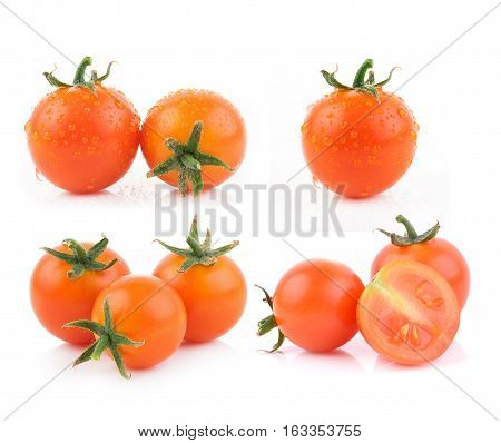 Closeup tomato on white background. food background