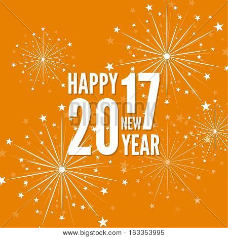 creative happy new year 2017 with bursts of multicolored fireworks. For decorations festivals, xmas, glamour holiday, illuminated, celebration