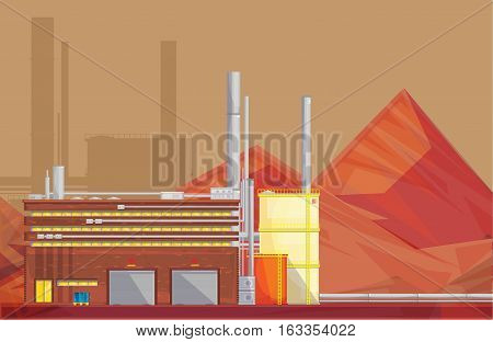 Eco friendly waste management industrial ore processing plant building and mineral waste rocks flat poster vector illustration