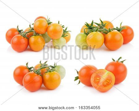 Closeup tomato on white background. food background
